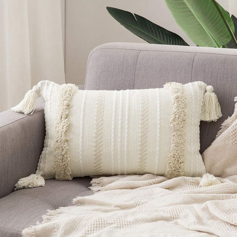 Cover Embroidered Cushion Gray And White Pompom