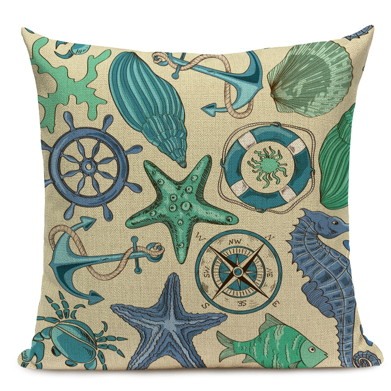 Turquoise Green Seaside Cushion Cover