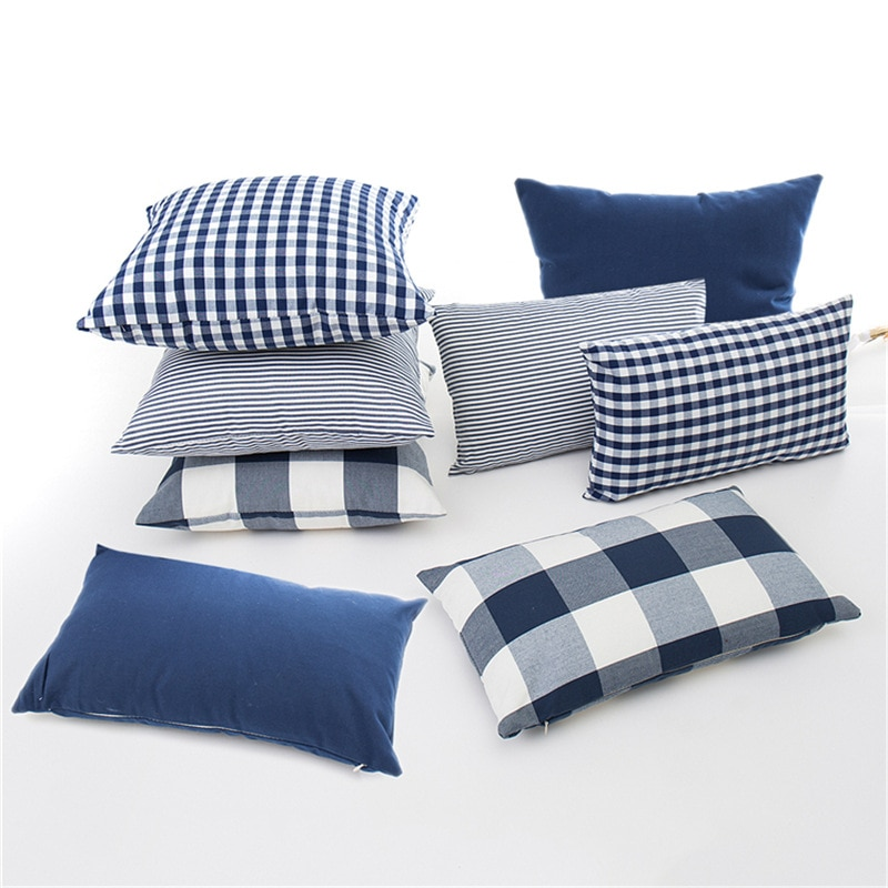Cushion Cover Blue Checkered Collection
